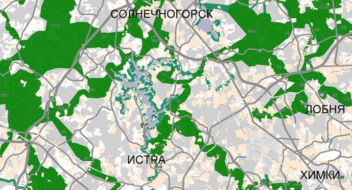 ...на которой также видна новая дорога, а также Истринский лесхоз рядом с участком и Нудольский лесхоз за ЦКАД.